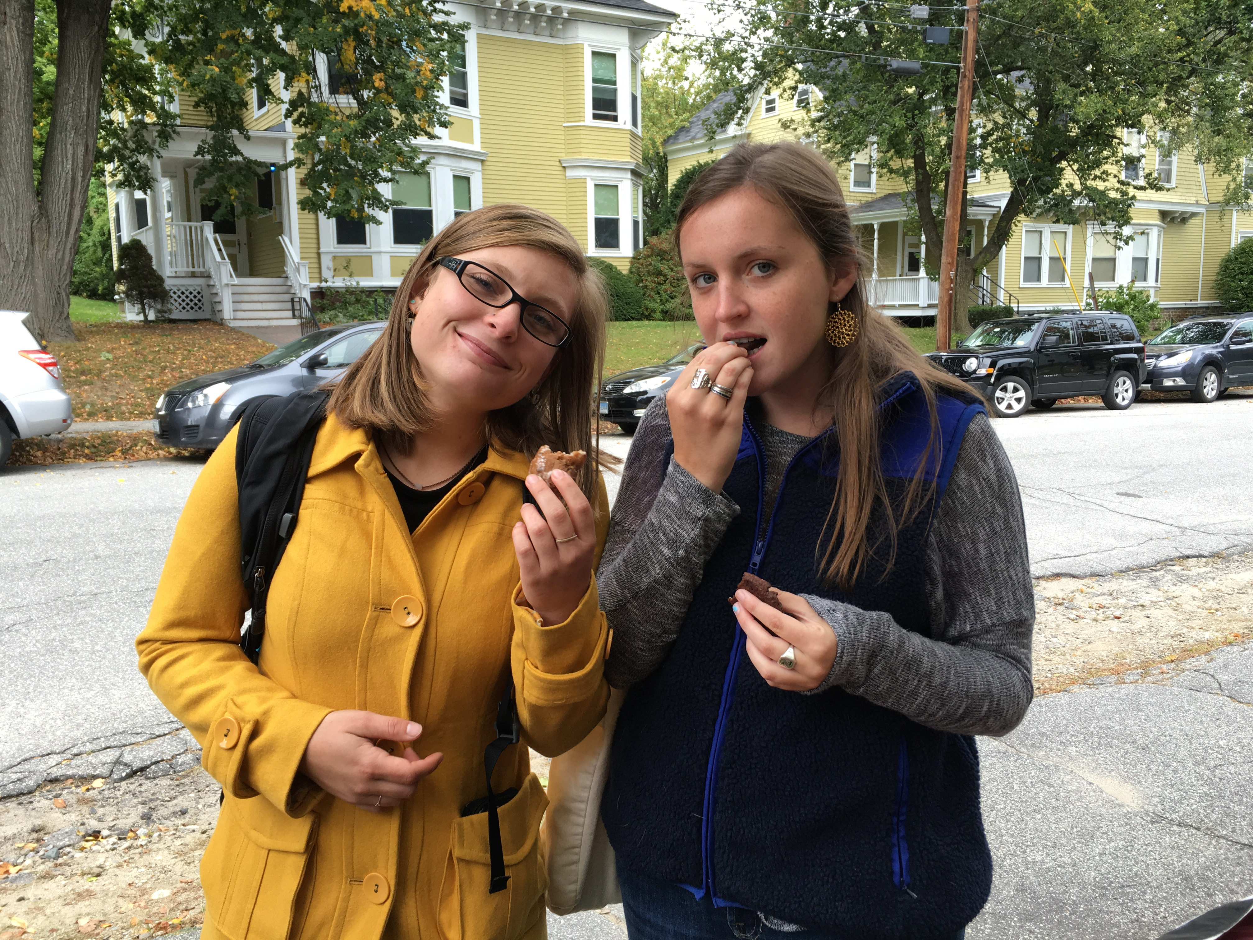 "Left, Emma Marchetti of ""BTDUBS,"" and Cecily Tennyson of ""Because We Said So"" enjoy some noms outside the station. Tune into their shows on 2-4pm Thursday and Friday, respectively."